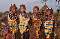 Hamer girls in their village near Turmi in the Omo Valley, Ethiopia.