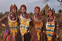 Hamer girls in their village near Turmi in the Omo Valley, Ethiopia.