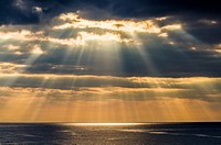 Crepuscular rays, or Jacobs Ladder over Bideford Bay off the North Devon Coast near Westward Ho!, England.