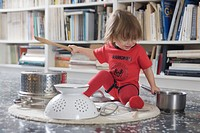 Baby, 15 Months, Noise, Kitchen Tool, Colander, Pan, Lid, Wooden fork, Whisk, Ramones body-Suit, carpet, books