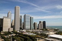 View of skyscrapers, Millennium Park, and Lake Michigan from the Cliff Dwellers Club, Chicago, Illinois.