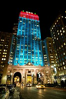 The Helmsley Building lighted for the holidays.