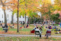 CAMBRIDGE, MA, USA: Harvard Yard, old heart of Harvard University campus, on a beautiful Fall day in Cambridge, MA, USA