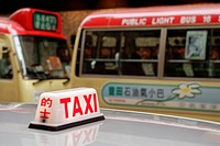 Hong Kong, China, Asia. Hong Kong Kowloon. Transport by taxi and bus.