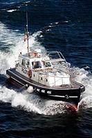 high speed pilot launch coming alongside passenger ship Naples Italy.