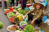 Colourful Street Market, Hanoi, Vietnam.