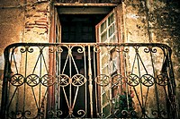 Abstract photo of old weathered rusty balcony.