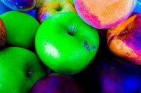 Assorted fruit, saturated colors.