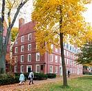 Massachusetts Hall, seat of the President of Harvard University, on a beautiful Fall day in Cambridge, Massachusetts, USA