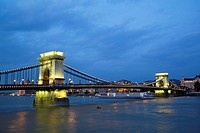 Chain bridge in late evening, Budapest, Hungary