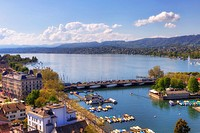 Zurich, Quaibruecke, lake Zurich, Switzerland.