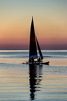 Sunset Sail boat on Cape Cod Bay, Massachusetts, USA.