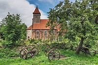 The Church of St. Katharina in Middelhagen was built in 1455 in the Gothic style, Moenchgut peninsula, Ruegen Island, County Vorpommern-Ruegen, Meckle...