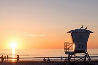 Lifeguard post at La Jolla Shores beach, California.