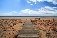 malgrat de mar,maresme,catalonia,spain.wooden gangway to sea.