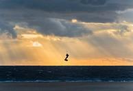 Kitesurfing in Tarifa, Costa de la Luz, Cadiz, Andalusia, Southern Spain, Europe.