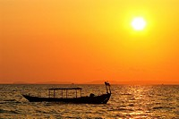 Sunset in Otres beach, Sihanoukville, Cambodia.