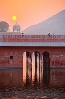 Building at Jal Mahal by sunrise.