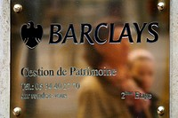 A sign for the offices of Barclay´s bank in Beziers, France