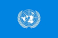 Flag with the logo of the United Nations with seat in New York - Caution: For the editorial use only. Not for advertising or other commercial use!.