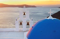 Blue domes of church in Firostefani village, Santorini, Aegean Island, Cyclades Island, Greek Islands, Greece, Europe.