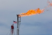 Epping, North Dakota - Natural gas is flared off as oil is pumped in the Bakken shale formation. The gas is burned because no pipelines have been buil...