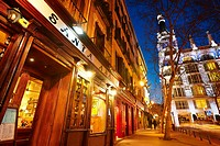 Santa Ana tapas bars and restaurants by night. Madrid. Spain.