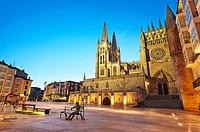 Cathedral of Saint Mary of Burgos, Sarmental facade. Castile and Leon. Spain.