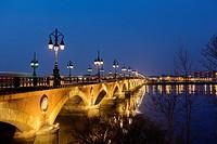 Pont de Pierre Garonne river Bordeaux Aquitaine France.