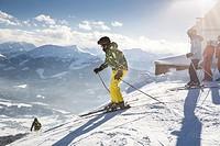 A skier on the piste in Alps near Kufstein in Austria, Europe.