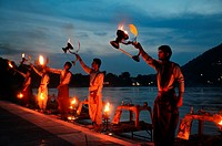 Evening Ganga Aarti Ceremony in Rishikesh.