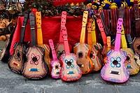 Small guitar in Panajachel market, Lake Atitlan, Guatemala, Central America.