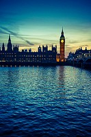 Big Ben and Houses of Parliament at night, London, UK.