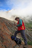 Geologist doing field work, Hudson Bay mountain, Smithers, British Columbia.