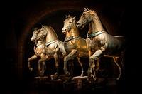 The Four original bronze horses of St Mark´s Basilica. San Marco district, Venice, Veneto region, Italy, Europe.