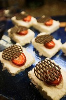 Dessert with chocolate and strawberries in pastry shop, Istanbul, Marmara Province, Turkey, Europe.