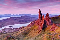 Pre-dawn light over the Old Man of Storr on the Isle of Skye, Scotland.