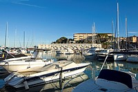 St. Jean Cap Ferrat, Harbour, Yachts and reflections, Blue sky, Horizontal.
