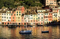 Portofino, Ligurian Coast, Italy, Port, Boats, Colourful homes, Reflections in Sea, Backdrop hillsides with pines and beautiful houses, Horizontal, Wi...