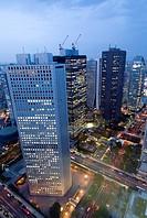 Shinjuku, Tokyo, Japan, Skyscrapers at dusk, Taken from Tokyo Metropolitan Govt. Building, Dynamic Japan, Vertical.
