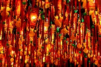 Lamps hanging from the ceiling of Tien-ho temple, Taipei, Taiwan, East Asia.