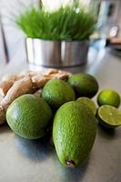 Close-up shot of avocados and lemons, Bodrum, Mugla, Aegean Sea, Turkish Riviera, Turkey, Europe.