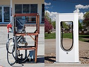 Lusk, Wyoming - A stripped gasoline pump (left) at a closed general store. A block away is a Tesla Supercharger in the parking lot of a motel. The Sup...