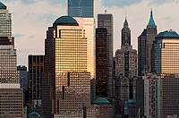 Detail of Manhattan Skyline with World Financial Center, 4 World Trade Center, Lower Manhattan, New York City, USA.