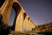 Viaduct at night near Bustarviejo, Madrid, Spain.