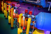 Large colorful water filtration tanks at Ripley´s Aquarium Toronto.