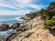 17-Mile Drive is a scenic road through Pebble Beach and Pacific Grove on the Monterey Peninsula in California, much of which hugs the Pacific coastlin...