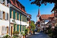 A quaint street in the town of Murten, Switzerland.