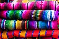 Close-up of colorful textiles, Guatemala, Central America.