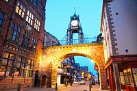 Eastgate clock and Tudor buildings Chester Cheshire England UK.